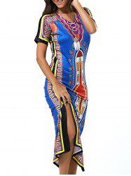 Ethic Colorful Tribal Print Slit Maxi Dress