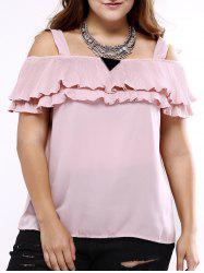 Oversized Sweet Cold Shoulder Flounced Blouse -