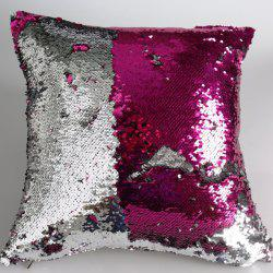 Fashion DIY Pattern Rose Red Silvery Two Tone Sequins Pillow Case - ROSE MADDER