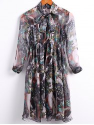 Vintage Bow Tied Collar 3/4 Sleeve Multicolor Printed Chiffon Dress For Women