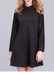 Trendy Peter Pan Collar Spliced Solid Color Women's Dress - BLACK XL