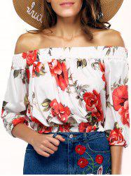 Stylish Off The Shoulder Floral Print Blouse For Women