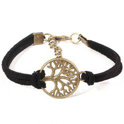 Bohemian Style Faux Suede Emboss Cut Out Tree Bracelet For Women - BLACK