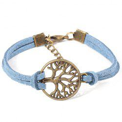 Bohemian Style Faux Suede Emboss Cut Out Tree Bracelet For Women - LIGHT BLUE