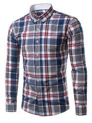 Classic Turn-Down Collar Long Sleeve Deep Blue Plaid Shirt For Men