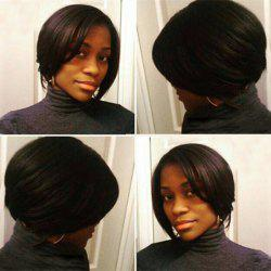 Vogue Short Side Parting Straight Dark Brown Women's Synthetic Hair Wig