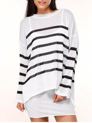 Drop Shoulder Knitted Striped Blouse -