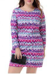 Plus Size Ethnic Long Sleeve Dress - COLORMIX 4XL