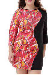 Plus Size Print Trim Color Block Dress