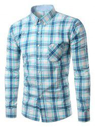 Chic Folded Pocket Long Sleeve Light Blue Tartan Shirt For Men