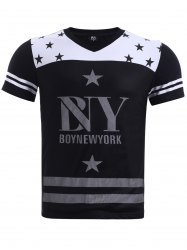 BoyNewYork Hit Color Stripes Star Pattern T-Shirt - BLACK XL