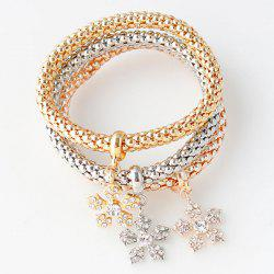 Rhinestoned Floral Layered Bracelets - COLORMIX