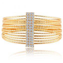 Multilayered Gold Plated Textured Rhinestone Strand Bracelet - GOLDEN