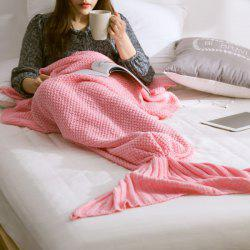 Handmade Knitted Home Decor Mermaid Tail Blanket - PINK
