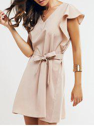 Cap Butterfly Sleeve A-Line Dress - APRICOT