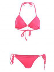 Stylish Halterneck Solid Color String Bikini Set For Women