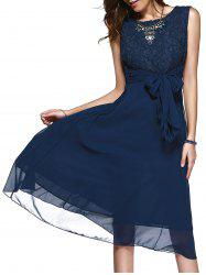 Lace Inset Chiffon A Line Swing Summer Dress - PURPLISH BLUE