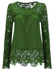 Solid Color Lace Spliced Hollow Out Blouse - GREEN M