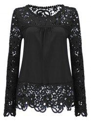 Solid Color Lace Spliced Hollow Out Blouse - BLACK 2XL