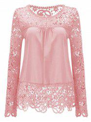 Solid Color Lace Spliced Hollow Out Blouse - PINK L