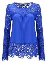 Solid Color Lace Spliced Hollow Out Blouse - DEEP BLUE