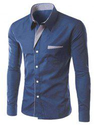 Stripe Panel Casual Long Sleeve Pocket Shirt - DEEP BLUE