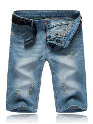 Straight Leg Ripped Jean Shorts -