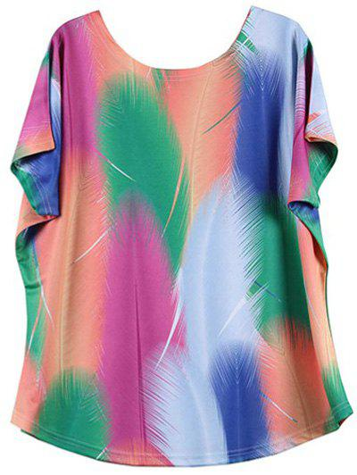 Cheap Looses-Fitting Bat Sleeve Colorized Feather Print Baggy T-Shirt