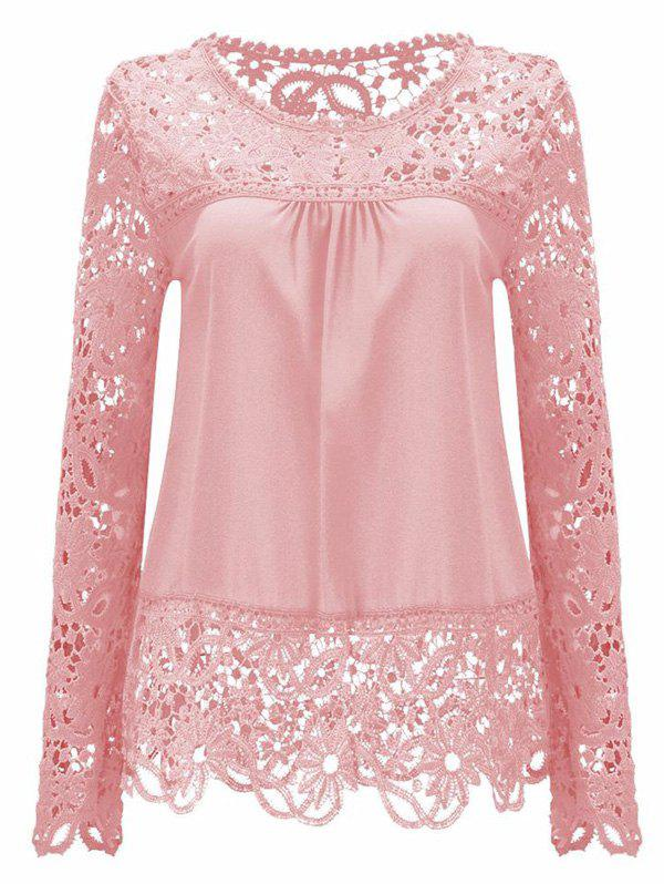 Solid Color Lace Spliced Hollow Out BlouseWOMEN<br><br>Size: 2XL; Color: PINK; Style: Fashion; Material: Polyester; Shirt Length: Regular; Sleeve Length: Full; Collar: Round Neck; Pattern Type: Patchwork; Season: Summer; Weight: 0.2400kg; Package Contents: 1 x Blouse;