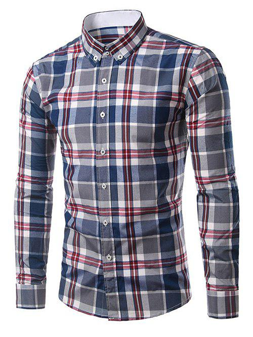 Discount Classic Turn-Down Collar Long Sleeve Deep Blue Plaid Shirt For Men