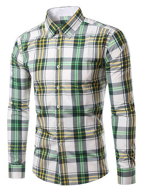 Chic Classic Turn-Down Collar Long Sleeve Yellow and Green Plaid Shirt For Men