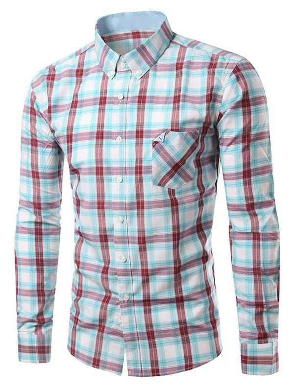 Sale Chic Folded Pocket Long Sleeve Light Blue and Red Tartan Shirt For Men