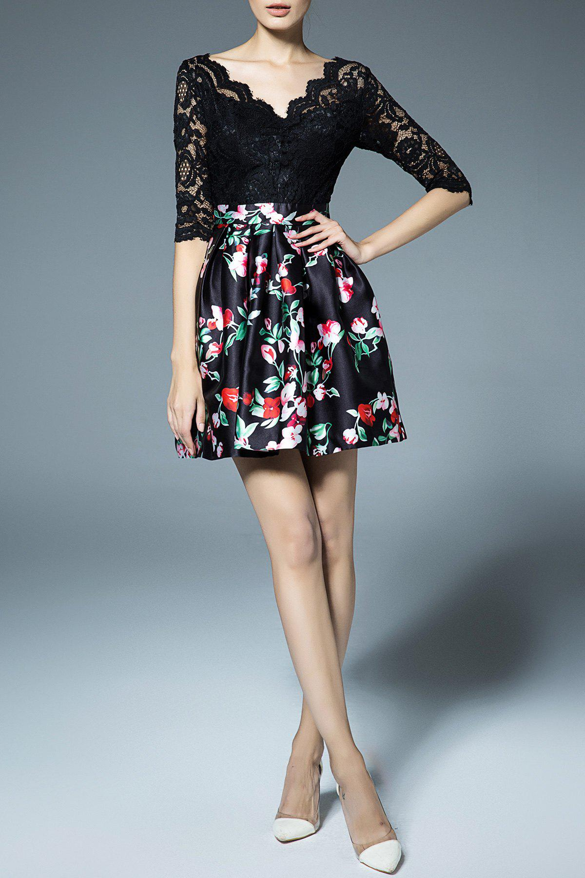 Best Flower Print Lace Splicing Dress