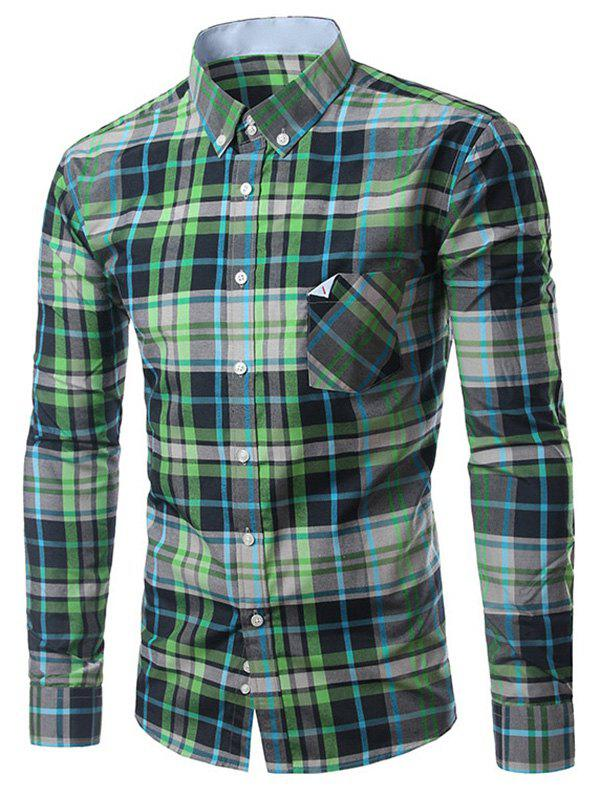 New Chic Folded Pocket Long Sleeve Deep Green Tartan Shirt For Men