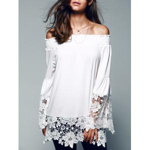 Off The Shoulder Lace Splicing Blouse - White - Xl