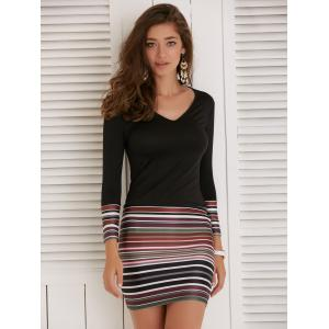 Long Sleeve Striped Short Fitted Tight Dress - Black - Xl