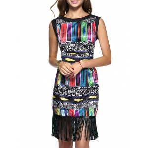 Ethnic Geometric Fringed Dress