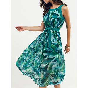 Scoop Neck Feather Print Belted Dress - Jade Green - M