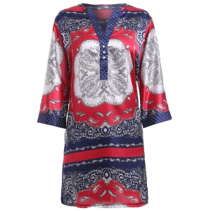 Ethnic Style Print V-Neck Shirt Dress For Women - Colormix - M