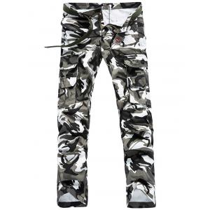 Camo Pattern Multi Pockets Cargo Pants For Men