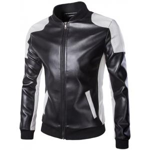 Color Block PU Leather Zippered Stand Collar Jacket For Men - Black - 5xl