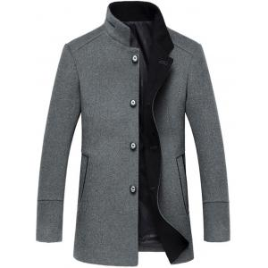 Elegant Stand Collar Single Breasted Slim Fit Wool Overcoat For Men - Gray - 2xl