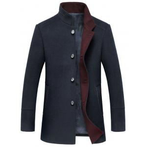 Elegant Stand Collar Single Breasted Slim Fit Wool Overcoat For Men - Cadetblue - L