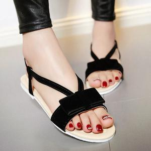 Leisure Bow and Flat Heel Design Sandals For Women - Black - 38