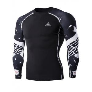 Special Letters Pattern Long Sleeves Compression T-Shirt For Men - Black - M