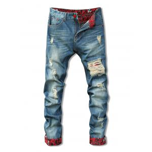 Zipper Fly Holes Cat's Whisker Design Crimping Straight Leg Jeans For Men - Blue - 31