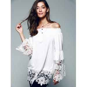 Off The Shoulder Lace Splicing Blouse -