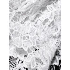 Off The Shoulder Lace Splicing Blouse - WHITE S