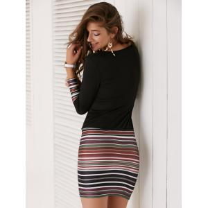 Long Sleeve Striped Short Fitted Tight Dress -