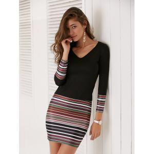 Long Sleeve Striped Short Fitted Tight Dress - BLACK XL